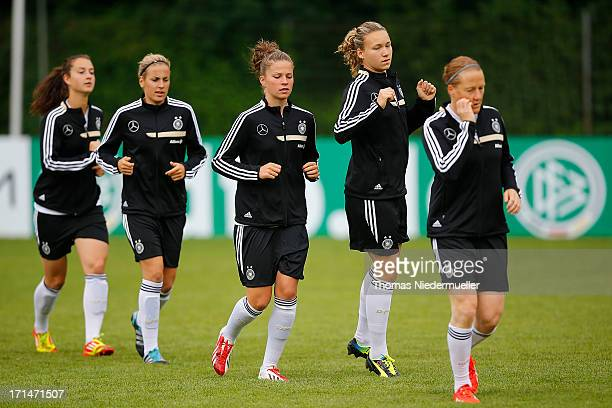 Sara Daebritz Jennifer Cramer Melanie Leupolz Josephine Henning and Melanie Behringer are seen during the German women's national team training...