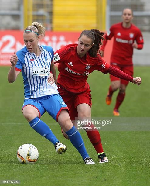 Sara Daebritz of Bayern Muenchen fights for the ball with Kristin Demann of Hoffenheim during the women Bundesliga match between FC Bayern Muenchen...
