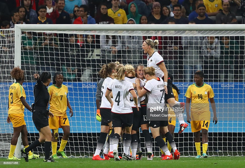 Sara Daebritz of Germany celebrates after scoring a goal during the Women's First Round Group F match between Zimbabwe and Germany at Arena Corinthians on August 3, 2016 in Sao Paulo, Brazil.