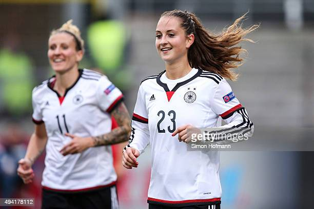 Sara Daebritz of Germany celebrates her team's fourth goal during the UEFA Women's Euro 2017 Qualifier match between Germany and Turkey at...