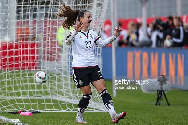 Sara Daebritz of Germany celebrates her team's seventh goal during the UEFA Women's Euro 2017 Qualifier match between Germany and Turkey at...
