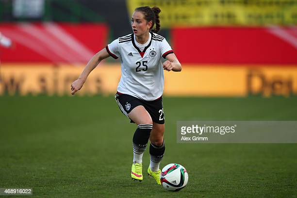 Sara Daebritz of Germany controles the ball during the Women's International Friendly match between Germany and Brazil at TrolliArena on April 8 2015...