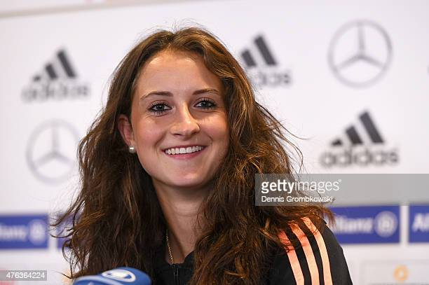 Sara Daebritz of Germany faces the media during a press conference at The Shaw Centre on June 8 2015 in Ottawa Canada