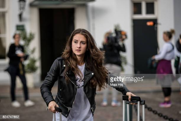 'SHERTOGENBOSCH NETHERLANDS JULY 31 Sara Daebritz of Germany leaves the team base hotel on July 31 2017 in 'sHertogenbosch Netherlands