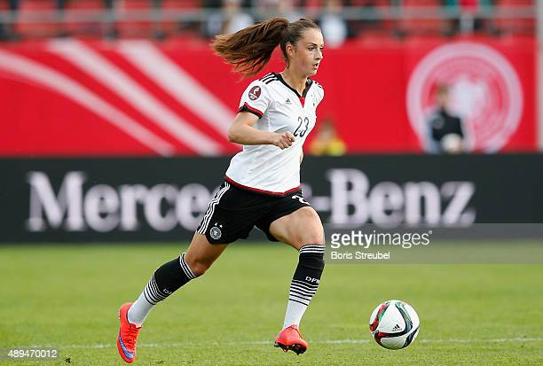 Sara Daebritz of Germany runs with the ball during the UEFA Women's Euro 2017 Qualifier between Germany and Hungary at Erdgas Sportpark on September...