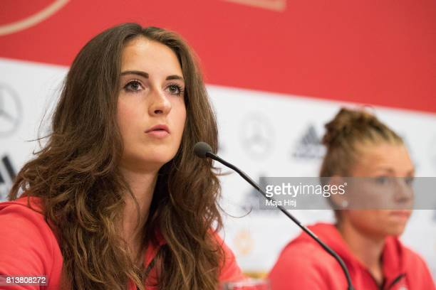 'SHERTOGENBOSCH NETHERLANDS JULY 13 Sara Daebritz of Germany Women's Team speaks next to Linda Dallmann during a press conference on July 13 2017 in...