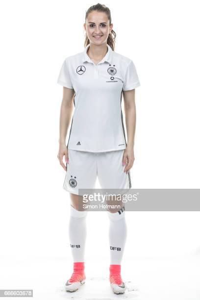 Sara Daebritz poses during the DFB Ladies Marketing Day on April 3 2017 in Frankfurt am Main Germany