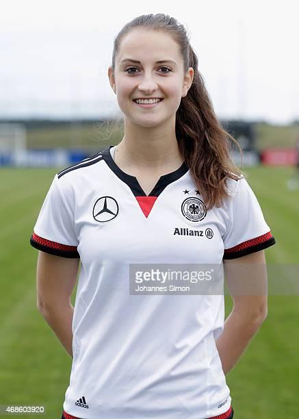 Sara Daebritz poses during the team presentation of the German Women's national team at Adi Dassler Stadium on April 4 2015 in Herzogenaurach Germany