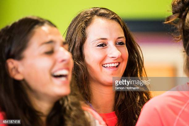 Sara Daebritz smiles during the Germany U20 Women's Welcome Home Reception As World Champions at Frankfurt International Airport on August 26 2014 in...