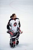 Sara Decosta goalie for the US women's ice hockey teams skates on the ice during the final game at the 1998 Winter Olympic games
