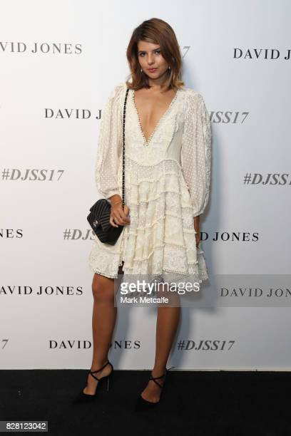 Sara Donaldson arrives ahead of the David Jones Spring Summer 2017 Collections Launch at David Jones Elizabeth Street Store on August 9 2017 in...