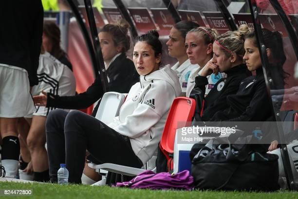 Sara Doorsoun of Germany and the team on the bench react after the UEFA Women's Euro 2017 Quarter Final match between Germany and Denmark at Sparta...