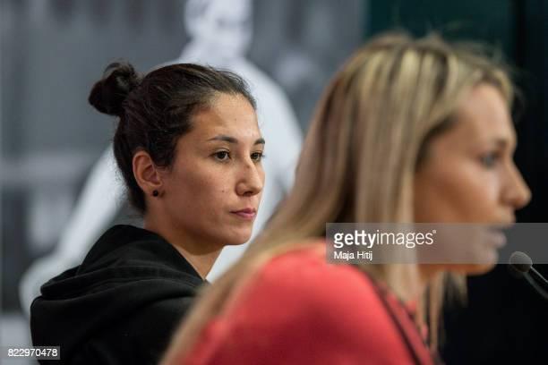 'SHERTOGENBOSCH NETHERLANDS JULY 26 Sara Doorsoun sits next to Lena Goessling during Germany Press Conference on July 26 2017 in 'sHertogenbosch...