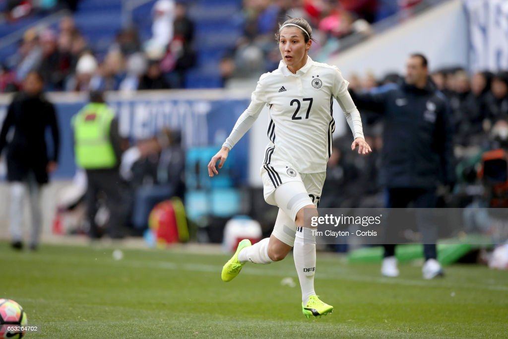 Sara Doorsoun-Khajeh #27 of Germany in action during the France Vs Germany SheBelieves Cup International match at Red Bull Arena on March 4, 2017 in Harrison, New Jersey.