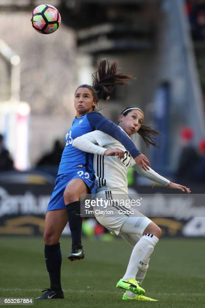 Sara DoorsounKhajeh of Germany is challenged by Sakina Karchaoui of France during the France Vs Germany SheBelieves Cup International match at Red...