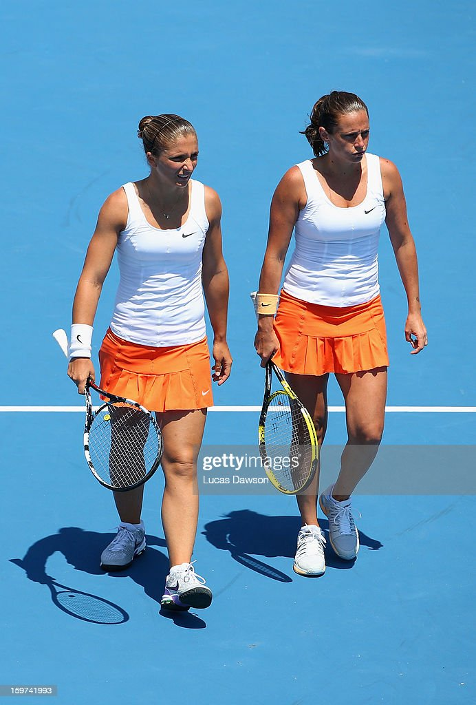 Sara Errani and Roberta Vinci of Italy celebrate a point in their third round doubles match against Su-Wei Hsieh of Chinese Taipei and Shuai Peng of China during day seven of the 2013 Australian Open at Melbourne Park on January 20, 2013 in Melbourne, Australia.