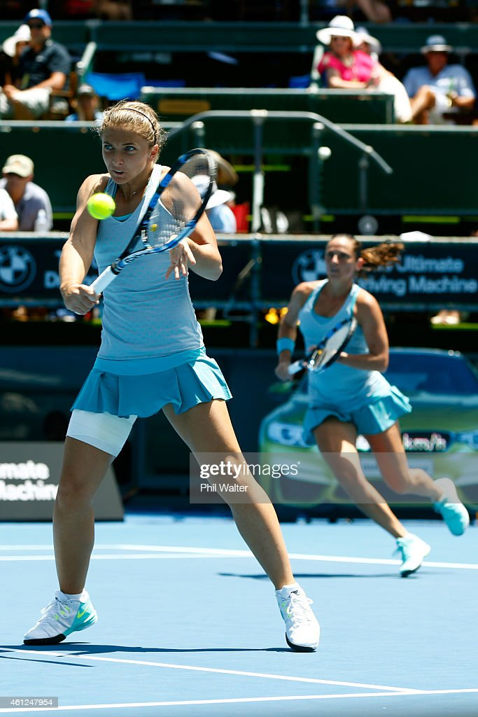 Sara Errani and Roberta Vinci of Italy play a shot in their doubles final against Shuko Aoyama of Japan and Renata Voracova of the Czech Republic...