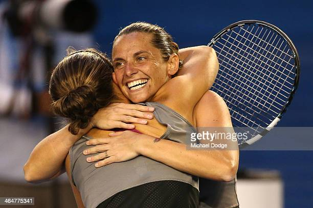 Sara Errani of Italy and Roberta Vinci of Italy celebrate winning Championship Point in their doubles final match against Elena Vesnina of Russia and...