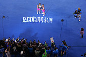 Sara Errani of Italy and Roberta Vinci of Italy pose with the winners trophy after winning their doubles final match against Elena Vesnina of Russia...