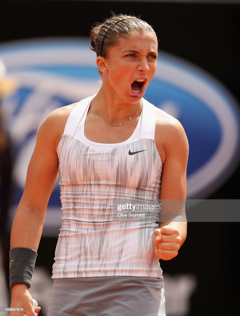 Sara Errani of Italy celebrates a point against Maria Kirilenko of Russia in their third round match during day five of the Internazionali BNL d'Italia 2013 at the Foro Italico Tennis Centre on May 16, 2013 in Rome, Italy.