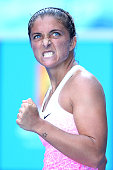 Sara Errani of Italy celebrates a point in her second round match against Silvia SolerEspinosa of Spain during day three of the 2015 Australian Open...