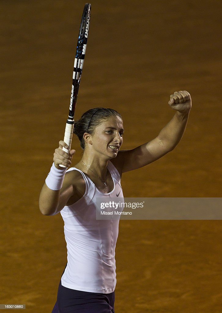 Sara Errani of Italy celebrates after winning the match against Carla Suarez of Spain during the final round at the ATP Mexican Open Telcel on March 1, 2013 in Acapulco, Mexico.