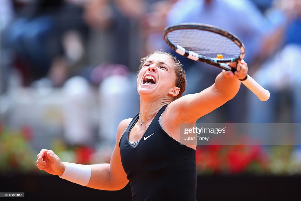 <a gi-track='captionPersonalityLinkClicked' href=/galleries/search?phrase=Sara+Errani&family=editorial&specificpeople=599213 ng-click='$event.stopPropagation()'>Sara Errani</a> of Italy celebrates defeating Li Na of China during day six of the Internazionali BNL d'Italia tennis 2014 on May 16, 2014 in Rome, Italy.