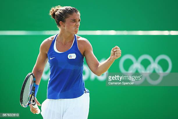 Sara Errani of Italy celebrates during the women's third round singles match against Daria Kasatkina of Russia on Day 4 of the Rio 2016 Olympic Games...