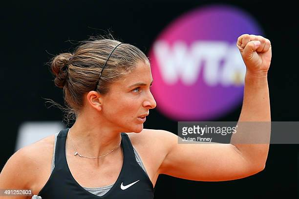 Sara Errani of Italy celebrates winning the first set in her match against Li Na of China during day six of the Internazionali BNL d'Italia tennis...