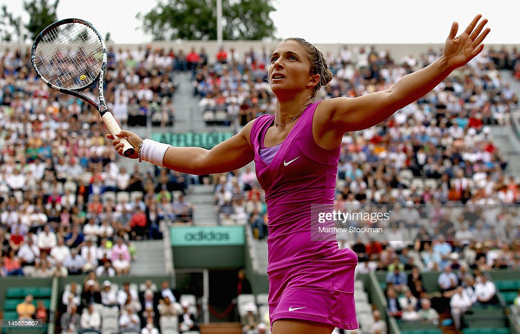 Sara Errani of Italy celebrbates match point during her women's singles third round match against Ana Ivanovic of Serbia during day six of the French...