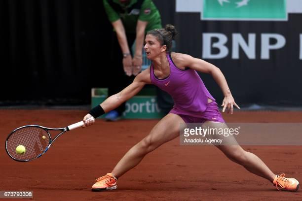 Sara Errani of Italy in action against Elise Mertens of Belgium during the TEB BNP Paribas Istanbul Cup women's tennis match at Garanti Koza Arena in...