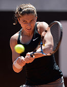 Sara Errani of Italy in action against Petra Cetkovska of the Czech Republic during day 5 of the Internazionali BNL d'Italia 2014 on May 15 2014 in...
