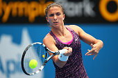 Sara Errani of Italy plays a forehand in her first round match against Roberta Vinci of Italy during day one of the Sydney International at Sydney...