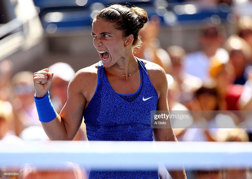 <a gi-track='captionPersonalityLinkClicked' href=/galleries/search?phrase=Sara+Errani&family=editorial&specificpeople=599213 ng-click='$event.stopPropagation()'>Sara Errani</a> of Italy reacts to a point against Venus Williams of the United States during their women's singles third round match on Day Five of the 2014 US Open at the USTA Billie Jean King National Tennis Center on August 29, 2014 in the Flushing neighborhood of the Queens borough of New York City.