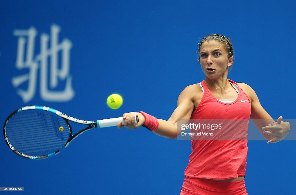 <a gi-track='captionPersonalityLinkClicked' href=/galleries/search?phrase=Sara+Errani&family=editorial&specificpeople=599213 ng-click='$event.stopPropagation()'>Sara Errani</a> of Italy returns a ball against Andrea Petkovic of Germany during the day five of the 2015 China Open at the China National Tennis Center on October 7, 2015 in Beijing, China.