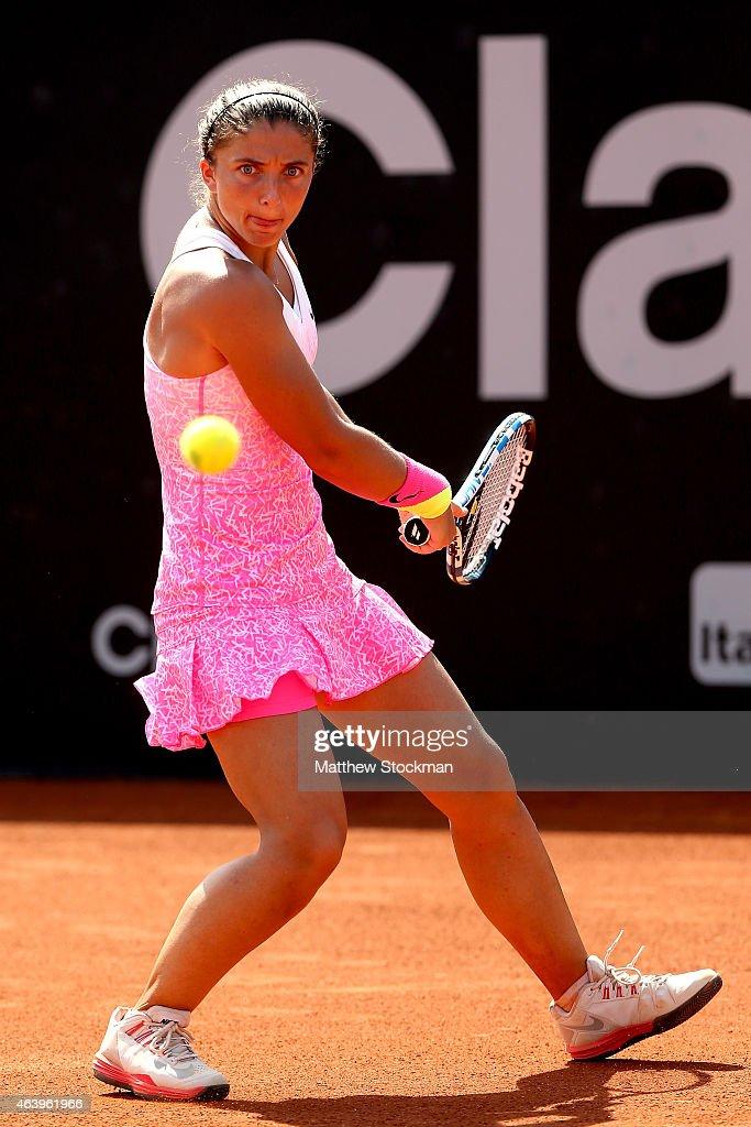 Sara Errani of Italy returns a shot to Beatriz Haddad Maia of Brazil during the Rio Open at the Jockey Club Brasileiro on February 20 2015 in Rio de...