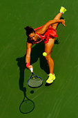 Sara Errani of Italy returns a shot to Jelena Ostapenko of Latvia during their Women's Singles Second Round match on Day Four of the 2015 US Open at...
