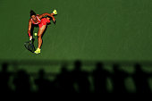Sara Errani of Italy returns a shot to Samantha Stosur of Australia during their Women's Singles Third Round match on Day Six of the 2015 US Open at...