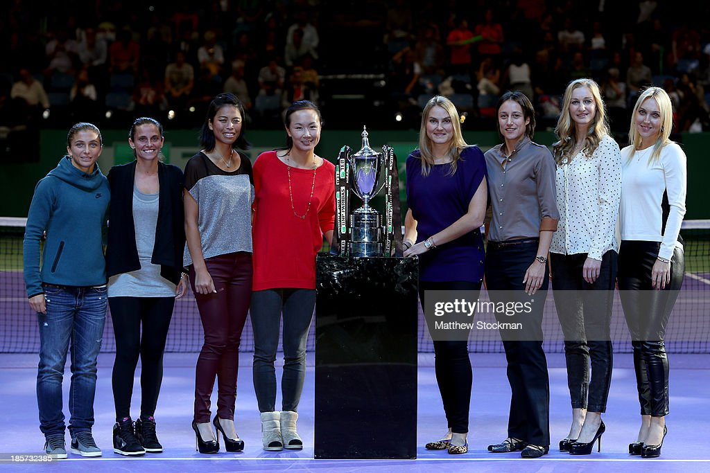 <a gi-track='captionPersonalityLinkClicked' href=/galleries/search?phrase=Sara+Errani&family=editorial&specificpeople=599213 ng-click='$event.stopPropagation()'>Sara Errani</a> of Italy, <a gi-track='captionPersonalityLinkClicked' href=/galleries/search?phrase=Roberta+Vinci&family=editorial&specificpeople=633555 ng-click='$event.stopPropagation()'>Roberta Vinci</a> of Italy, Hsieh Su-Wei of Taiwan, Peng Shuai of China, <a gi-track='captionPersonalityLinkClicked' href=/galleries/search?phrase=Nadia+Petrova&family=editorial&specificpeople=178321 ng-click='$event.stopPropagation()'>Nadia Petrova</a> of Russia, <a gi-track='captionPersonalityLinkClicked' href=/galleries/search?phrase=Katarina+Srebotnik&family=editorial&specificpeople=218044 ng-click='$event.stopPropagation()'>Katarina Srebotnik</a> of Slovenia, <a gi-track='captionPersonalityLinkClicked' href=/galleries/search?phrase=Ekaterina+Makarova&family=editorial&specificpeople=2364239 ng-click='$event.stopPropagation()'>Ekaterina Makarova</a> of Russia and <a gi-track='captionPersonalityLinkClicked' href=/galleries/search?phrase=Elena+Vesnina&family=editorial&specificpeople=552598 ng-click='$event.stopPropagation()'>Elena Vesnina</a> of Russia pose for photographers after the doubles draw ceremony during day three of the TEB BNP Paribas WTA Championships at the Sinan Erdem Dome on October 24, 2013 in Istanbul, Turkey.