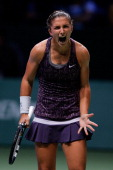 Sara Errani of Italy screams in her match against Jelena Jankovic of Serbia during day four of the TEB BNP Paribas WTA Championships at the Sinan...