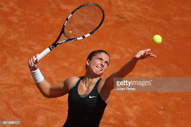 Sara Errani of Italy serves in her match against Jelena Jankovic of Serbia during day seven of the Internazionali BNL d'Italia tennis 2014 on May 17...