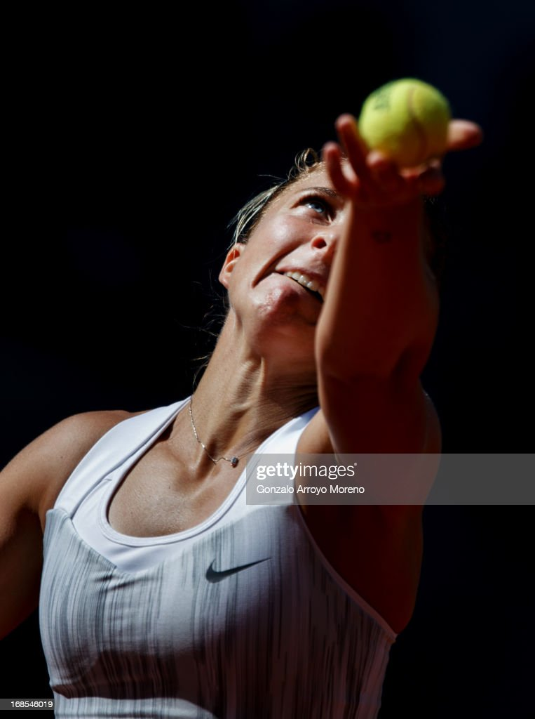 Sara Errani of Italy serves the ball during her semi-final match against Serena Williams of the US on day eight of the Mutua Madrid Open tennis tournament at the Caja Magica on May 11, 2013 in Madrid, Spain.