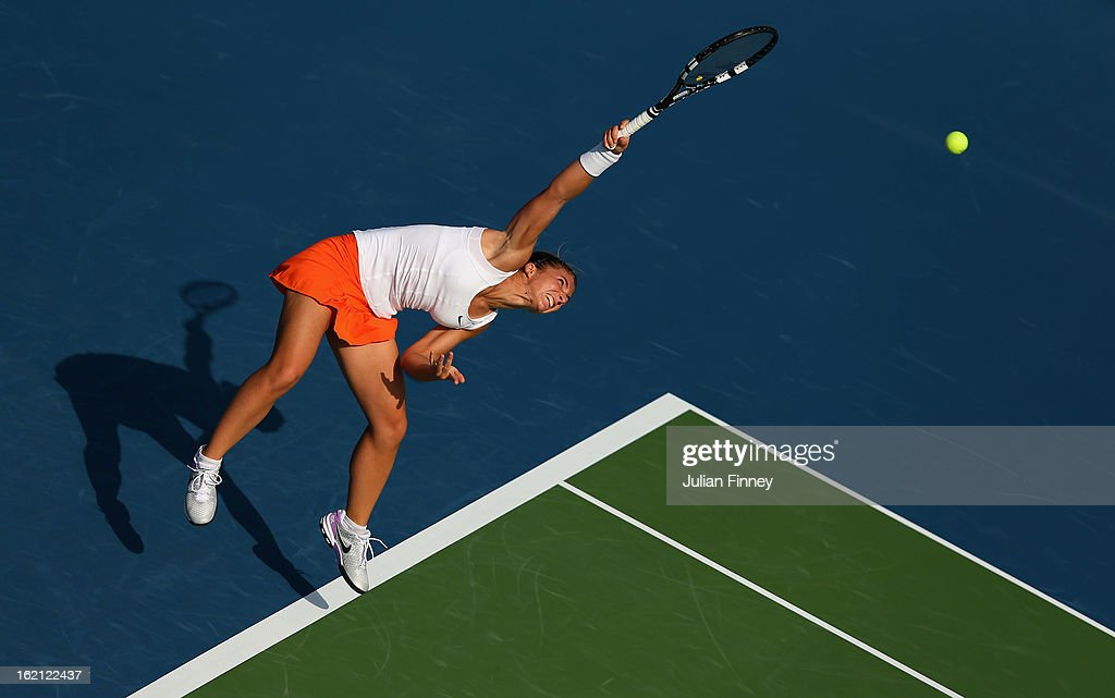 <a gi-track='captionPersonalityLinkClicked' href=/galleries/search?phrase=Sara+Errani&family=editorial&specificpeople=599213 ng-click='$event.stopPropagation()'>Sara Errani</a> of Italy serves to Julia Goerges of Germany during day two of the WTA Dubai Duty Free Tennis Championship on February 19, 2013 in Dubai, United Arab Emirates.