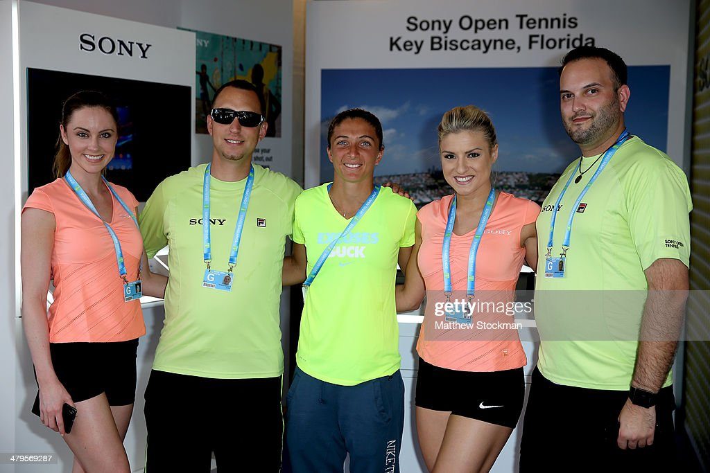 Sara Errani of Italy signs autographs and poses for pictures during the Sony Open at the Crandon Park Tennis Center on March 19, 2014 in Key Biscayne, Florida.