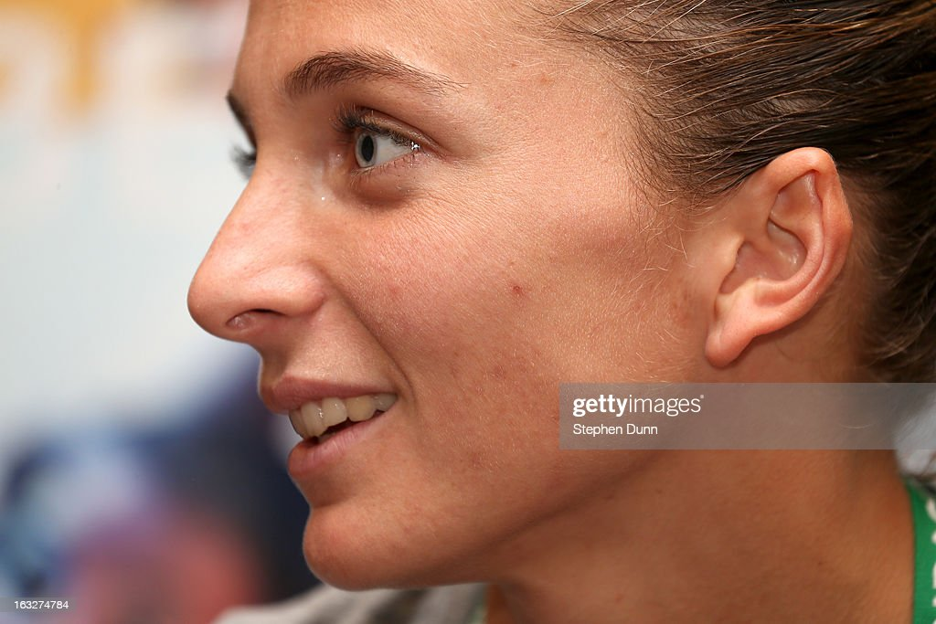 Sara Errani of Italy speaks to the media during All Access Hour during day 1 of the BNP Paribas Open at Indian Wells Tennis Garden on March 6, 2013 in Indian Wells, California.