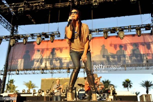 Sara Evans performs at the 2012 Stagecoach Country Music Festival Indio CA Day 1 at The Empire Polo Club on April 27 2012 in Indio California