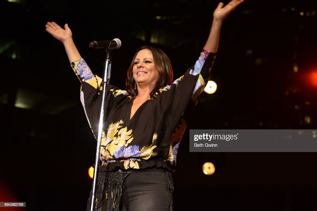 Sara Evans plays the Cracker Barrel Stage during CMA Fest on June 9, 2017 in Nashville, Tennessee.