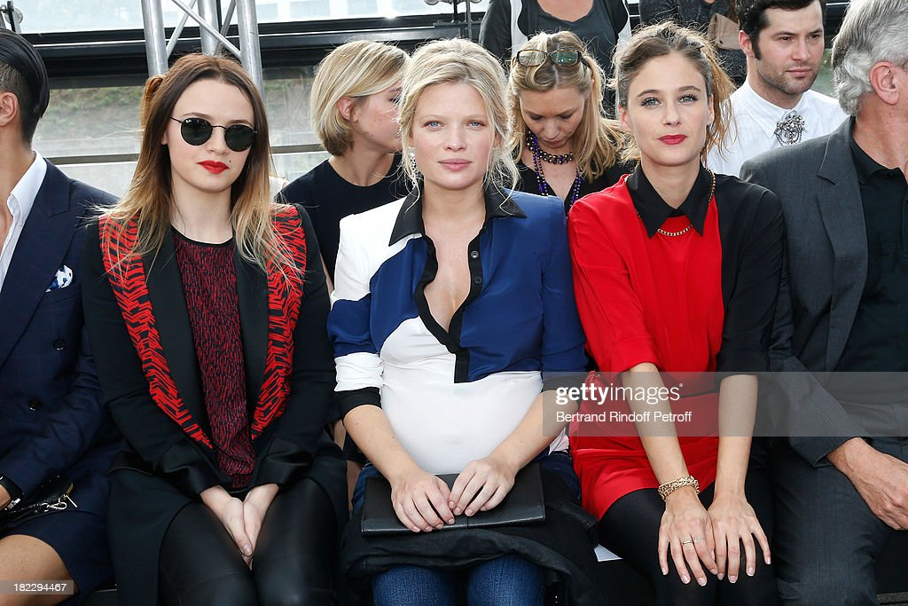 Sara Forestier, Melanie Thierry and Melanie Bernier, CEO Dior Sidney Toledano and his daughter Julia Toledano attend Maxime Simoens show as part of the Paris Fashion Week Womenswear Spring/Summer 2014, held at Orangerie du parc Andre Citroen on September 29, 2013 in Paris, France.