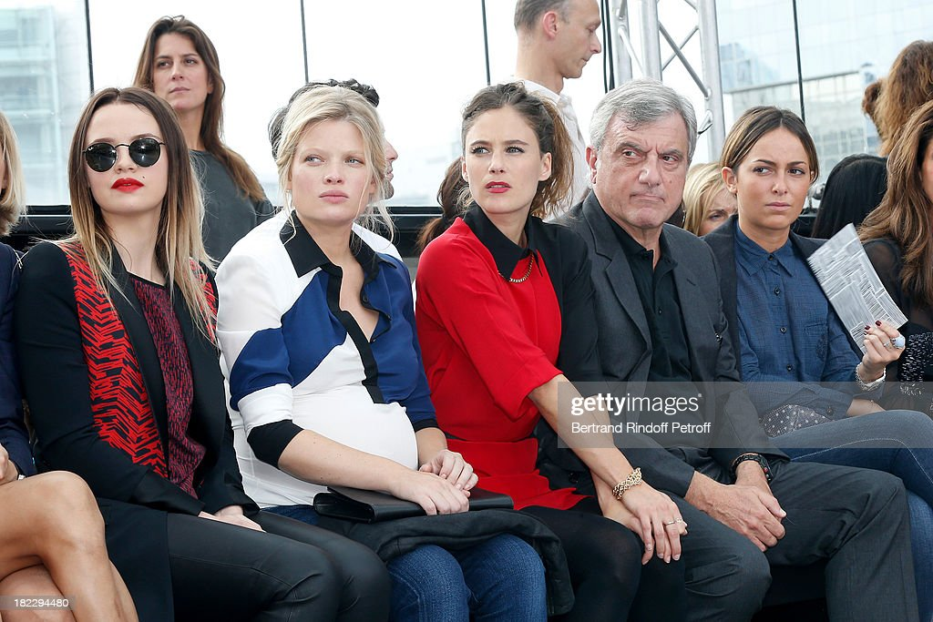 Sara Forestier, Melanie Thierry, Melanie Bernier, CEO Dior Sidney Toledano and his daughter Julia Toledano attend Maxime Simoens show as part of the Paris Fashion Week Womenswear Spring/Summer 2014, held at Orangerie du parc Andre Citroen on September 29, 2013 in Paris, France.