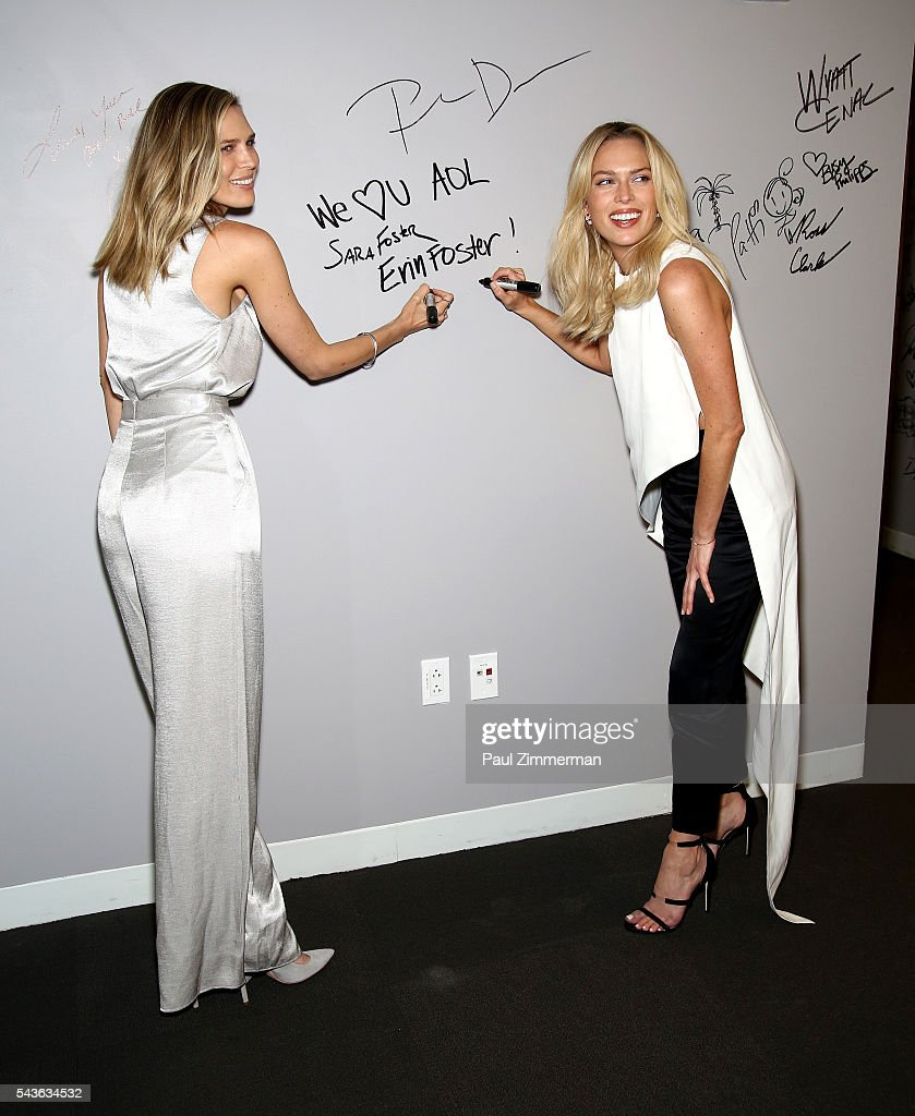 Sara Foster (L) and Erin Foster attend AOL Build Presents -Erin Foster And Sara Foster From VH1's 'Barely Famous' at AOL Studios In New York on June 29, 2016 in New York City.
